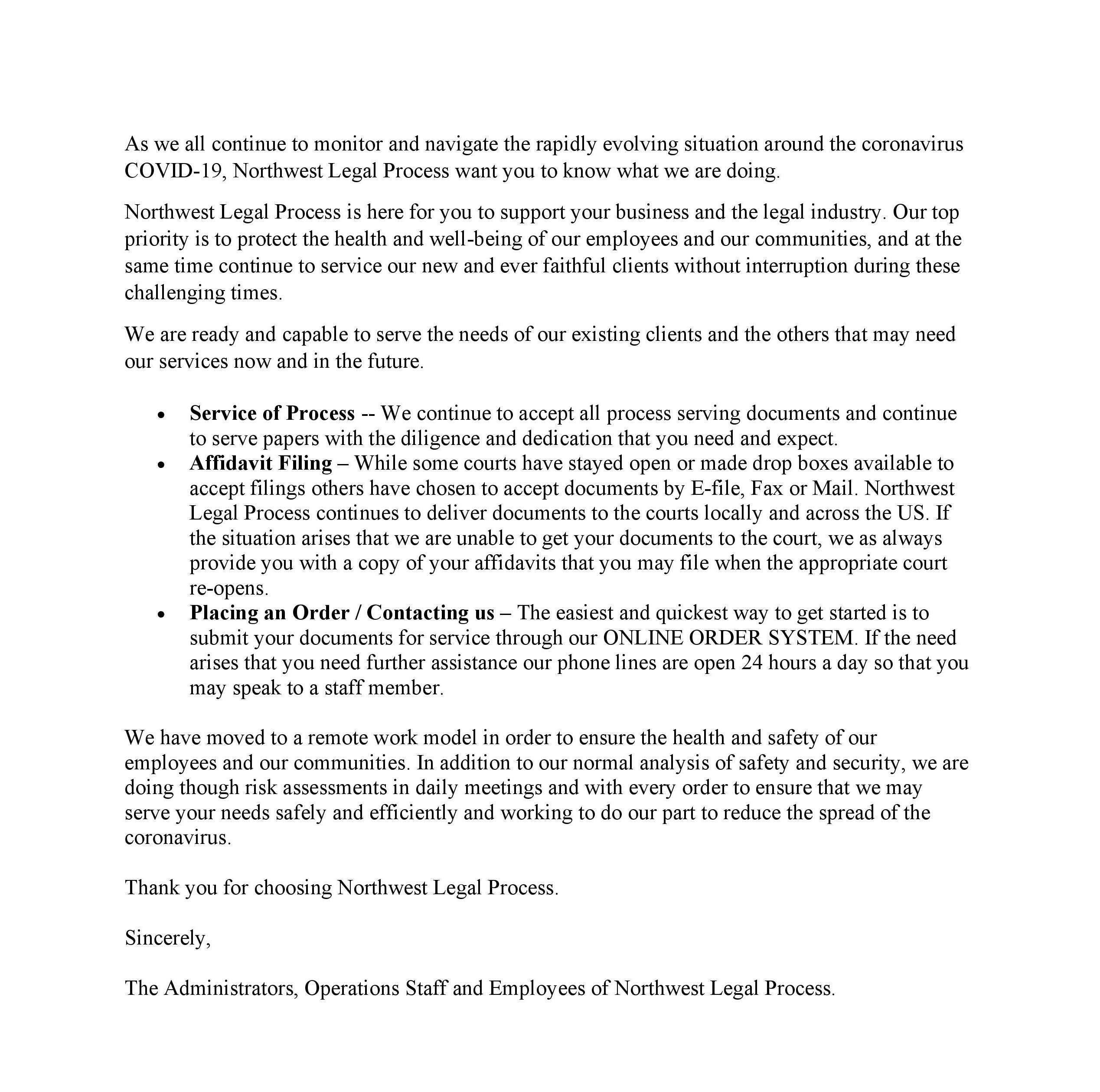 COVID-19-Statment